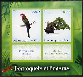Mali 2014 Parrots & Bonsai imerf sheetlet containing two values & two labels unmounted mint