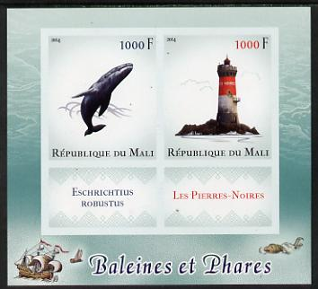 Mali 2014 Whales & Lighthouses imperf sheetlet containing two values & two labels unmounted mint