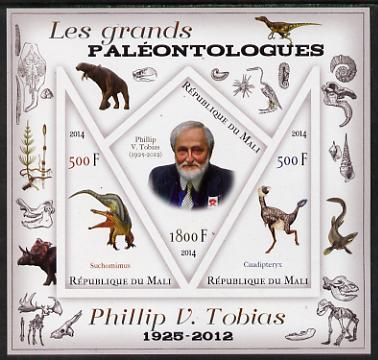 Mali 2014 Famous Paleontologists & Dinosaurs - Phillip V Tobias imperf sheetlet containing one diamond shaped & two triangular values unmounted mint