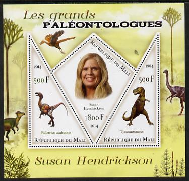Mali 2014 Famous Paleontologists & Dinosaurs - Susan Hendrickson perf sheetlet containing one diamond shaped & two triangular values unmounted mint