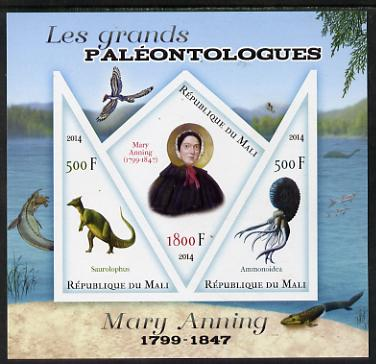 Mali 2014 Famous Paleontologists & Dinosaurs - Mary Anning imperf sheetlet containing one diamond shaped & two triangular values unmounted mint