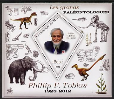 Mali 2014 Famous Paleontologists & Dinosaurs - Phillip V Tobias perf s/sheet containing one diamond shaped value unmounted mint