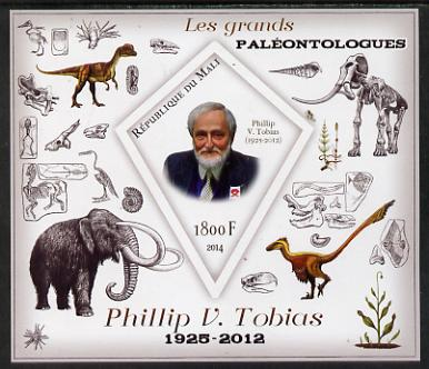 Mali 2014 Famous Paleontologists & Dinosaurs - Phillip V Tobias imperf s/sheet containing one diamond shaped value unmounted mint