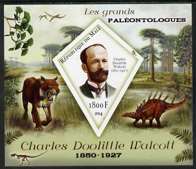 Mali 2014 Famous Paleontologists & Dinosaurs - Charles Doolittle Walcott imperf s/sheet containing one diamond shaped value unmounted mint