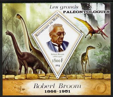 Mali 2014 Famous Paleontologists & Dinosaurs - Robert Broom perf s/sheet containing one diamond shaped value unmounted mint