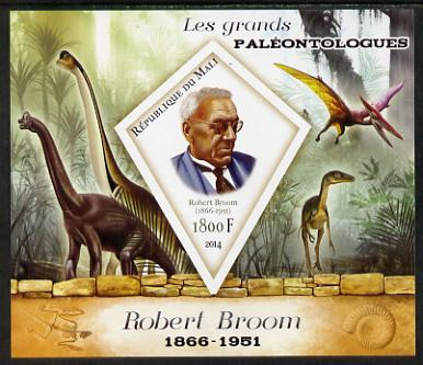 Mali 2014 Famous Paleontologists & Dinosaurs - Robert Broom imperf s/sheet containing one diamond shaped value unmounted mint