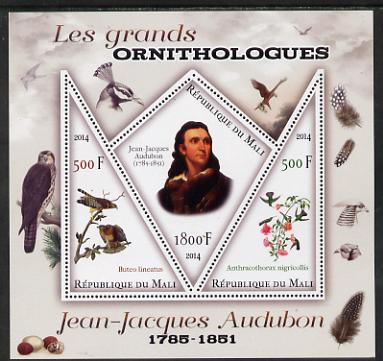 Mali 2014 Famous Ornithologists & Birds - John Audubon perf sheetlet containing one diamond shaped & two triangular values unmounted mint