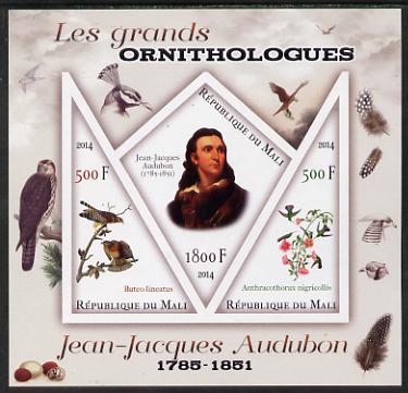 Mali 2014 Famous Ornithologists & Birds - John Audubon imperf sheetlet containing one diamond shaped & two triangular values unmounted mint