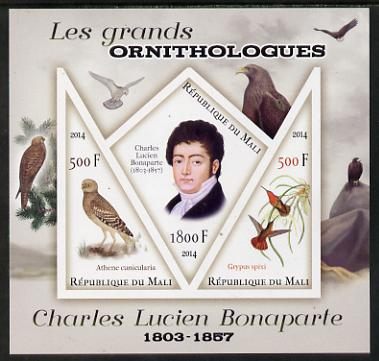 Mali 2014 Famous Ornithologists & Birds - Charles Lucien Bonaparte imperf sheetlet containing one diamond shaped & two triangular values unmounted mint