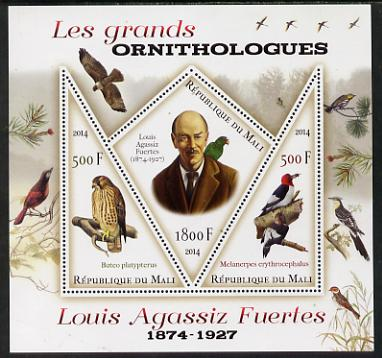Mali 2014 Famous Ornithologists & Birds - Louis Agassiz Fuertes perf sheetlet containing one diamond shaped & two triangular values unmounted mint