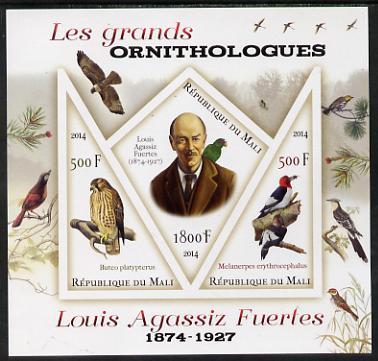 Mali 2014 Famous Ornithologists & Birds - Louis Agassiz Fuertes imperf sheetlet containing one diamond shaped & two triangular values unmounted mint