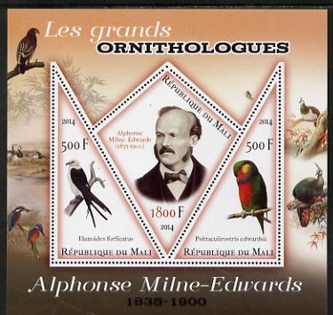 Mali 2014 Famous Ornithologists & Birds - Alphonse Milne-Edwards perf sheetlet containing one diamond shaped & two triangular values unmounted mint