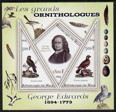 Mali 2014 Famous Ornithologists & Birds - George Edwards perf sheetlet containing one diamond shaped & two triangular values unmounted mint