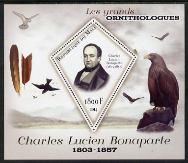 Mali 2014 Famous Ornithologists & Birds - Charles Lucien Bonaparte perf s/sheet containing one diamond shaped value unmounted mint, stamps on personalities, stamps on birds, stamps on