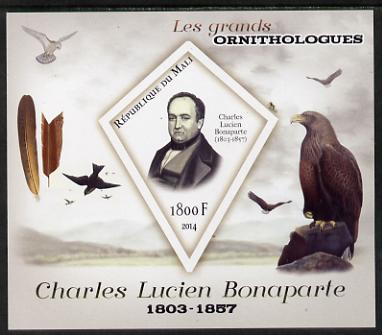 Mali 2014 Famous Ornithologists & Birds - Charles Lucien Bonaparte imperf s/sheet containing one diamond shaped value unmounted mint