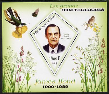 Mali 2014 Famous Ornithologists & Birds - James Bond perf s/sheet containing one diamond shaped value unmounted mint