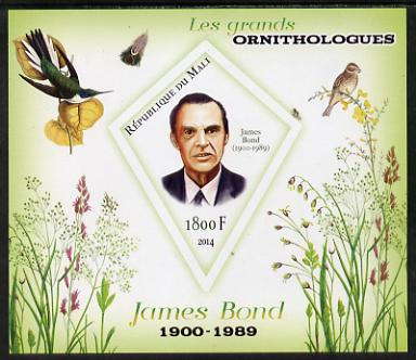 Mali 2014 Famous Ornithologists & Birds - James Bond imperf s/sheet containing one diamond shaped value unmounted mint