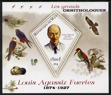 Mali 2014 Famous Ornithologists & Birds - Louis Agassiz Fuertes perf s/sheet containing one diamond shaped value unmounted mint
