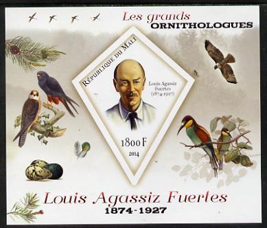 Mali 2014 Famous Ornithologists & Birds - Louis Agassiz Fuertes imperf s/sheet containing one diamond shaped value unmounted mint
