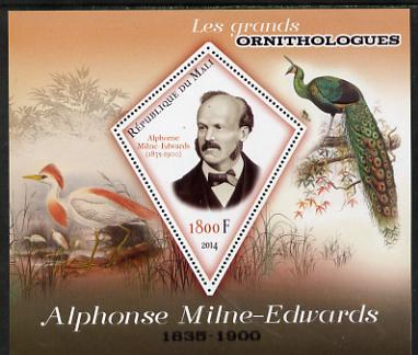 Mali 2014 Famous Ornithologists & Birds - Alphonse Milne-Edwards perf s/sheet containing one diamond shaped value unmounted mint