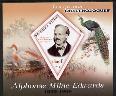 Mali 2014 Famous Ornithologists & Birds - Alphonse Milne-Edwards imperf s/sheet containing one diamond shaped value unmounted mint