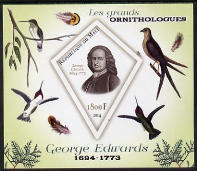 Mali 2014 Famous Ornithologists & Birds - George Edwards imperf s/sheet containing one diamond shaped value unmounted mint