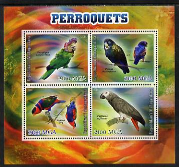Madagascar 2014 Parrots perf sheetlet containing 4 values unmounted mint, stamps on birds, stamps on parrots