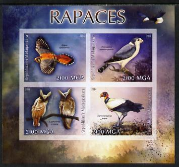 Madagascar 2014 Birds of Prey imperf sheetlet containing 4 values unmounted mint
