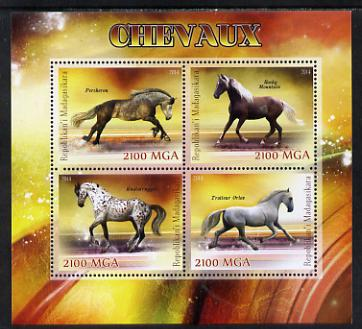 Madagascar 2014 Horses perf sheetlet containing 4 values unmounted mint