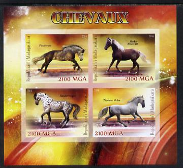 Madagascar 2014 Horses imperf sheetlet containing 4 values unmounted mint