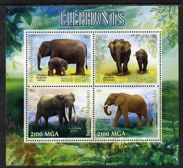 Madagascar 2014 Elephants perf sheetlet containing 4 values unmounted mint