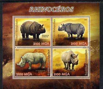 Madagascar 2014 Rhinos perf sheetlet containing 4 values unmounted mint