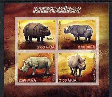 Madagascar 2014 Rhinos imperf sheetlet containing 4 values unmounted mint