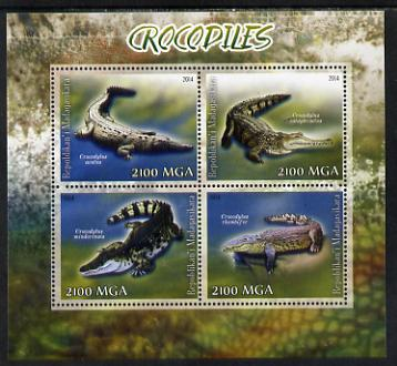 Madagascar 2014 Crocodiles perf sheetlet containing 4 values unmounted mint
