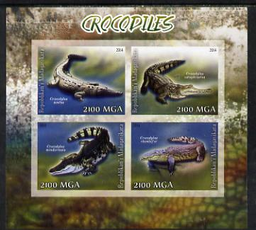 Madagascar 2014 Crocodiles imperf sheetlet containing 4 values unmounted mint