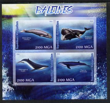 Madagascar 2014 Whales imperf sheetlet containing 4 values unmounted mint