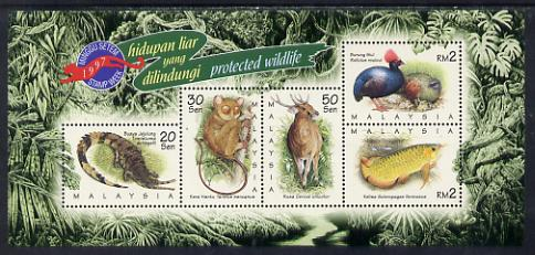 Malaysia 1997 Stamp Week - Endangered Wildlife perf sheetlet containing 5 values unmounted mint, SG MS 672