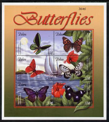 Palau 2000 Butterflies perf sheetlet containing 6 values unmounted mint SG MS 1777a