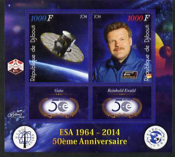 Djibouti 2014 50th Anniversary of European Space Agency - Gaia & Reinhold Ewald perf sheetlet containing 2 values plus 2 label unmounted mint