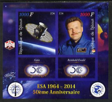 Djibouti 2014 50th Anniversary of European Space Agency - Gaia & Reinhold Ewald imperf sheetlet containing 2 values plus 2 label unmounted mint