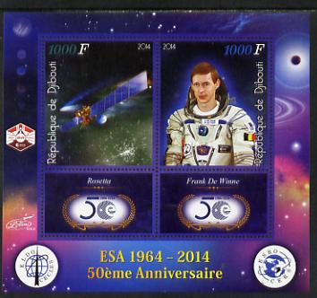 Djibouti 2014 50th Anniversary of European Space Agency - Rosetta & Frank de Winne perf sheetlet containing 2 values plus 2 label unmounted mint