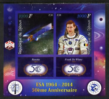 Djibouti 2014 50th Anniversary of European Space Agency - Rosetta & Frank de Winne imperf sheetlet containing 2 values plus 2 label unmounted mint, stamps on space, stamps on personalities, stamps on satellites, stamps on  esa , stamps on