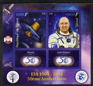 Djibouti 2014 50th Anniversary of European Space Agency - Darwin & Andre Kuipers perf sheetlet containing 2 values plus 2 label unmounted mint
