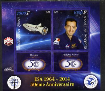 Djibouti 2014 50th Anniversary of European Space Agency - Hermes & Philippe Perrin perf sheetlet containing 2 values plus 2 label unmounted mint