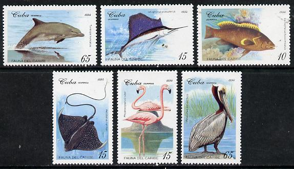 Cuba 1994 Caribbean Fauna (Dolphin, Fish, Pelican, etc) set of 6 unmounted mint, SG 3926-31