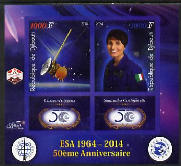 Djibouti 2014 50th Anniversary of European Space Agency - Cassini-Huygens & Samantha Cristoforetti imperf sheetlet containing 2 values plus 2 label unmounted mint