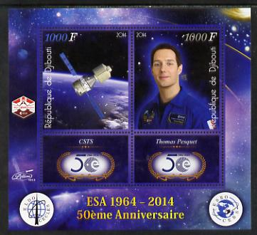 Djibouti 2014 50th Anniversary of European Space Agency - CSTS & Thomas Pesquet perf sheetlet containing 2 values plus 2 label unmounted mint