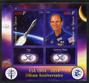 Djibouti 2014 50th Anniversary of European Space Agency - Vega & Gerhard Thiele perf sheetlet containing 2 values plus 2 label unmounted mint