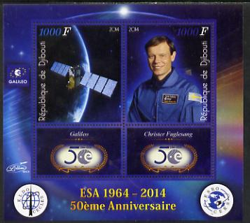 Djibouti 2014 50th Anniversary of European Space Agency - Galileo & Christer Fuglesang perf sheetlet containing 2 values plus 2 label unmounted mint