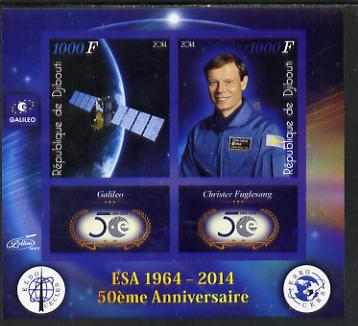 Djibouti 2014 50th Anniversary of European Space Agency - Galileo & Christer Fuglesang imperf sheetlet containing 2 values plus 2 label unmounted mint